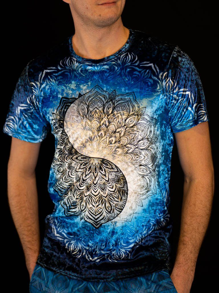Yin Yang Mandala Unisex Crew T-Shirts Electro Threads X-Small Crushed Velvet
