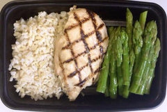 Grilled Chicken Breast with Asparagus and White Rice