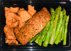 Blackened Salmon with Asparagus and Sweet Potato