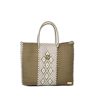 SMALL GOLD /WHITE TOTE BAG