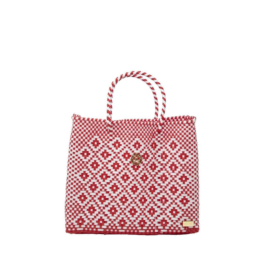 SMALL RED AZTEC TOTE BAG