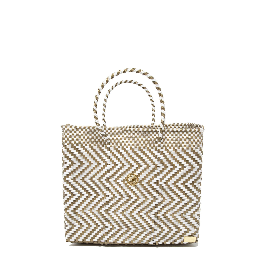 SMALL GOLD CHEVRON TOTE BAG
