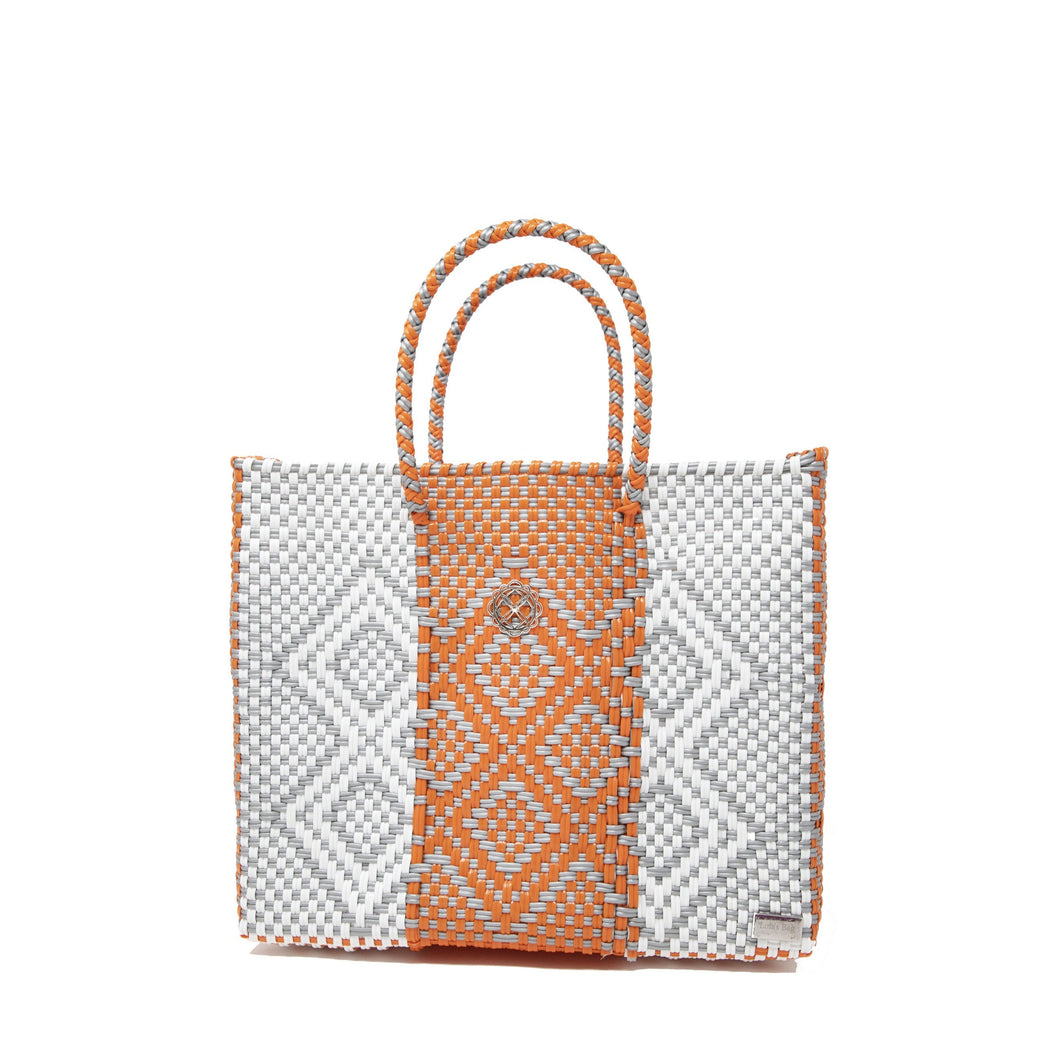 SMALL ORANGE PATTERNED TOTE BAG