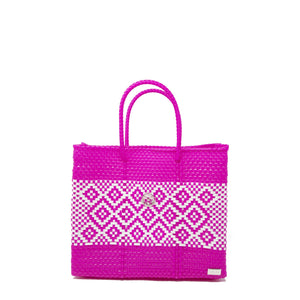SMALL PINK / WHITE TOTE BAG