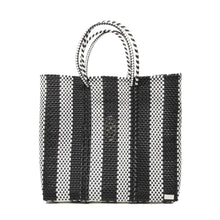 Load image into Gallery viewer, MEDIUM BLACK STRIPED TOTE BAG