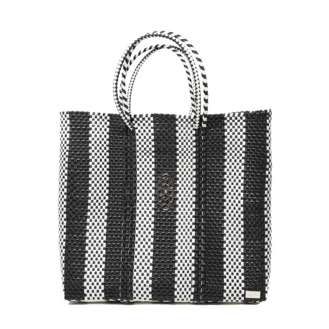 MEDIUM BLACK STRIPED TOTE BAG