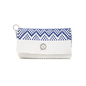 BLUE WHITE AZTEC CLUTCH