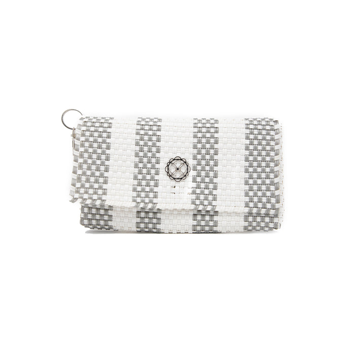 SILVER STRIPE CLUTCH