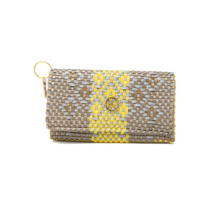 GRAY YELLOW AZTEC CLUTCH
