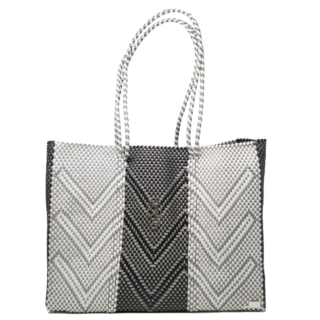 GRAY CHEVRON TOTE WITH CLUTCH