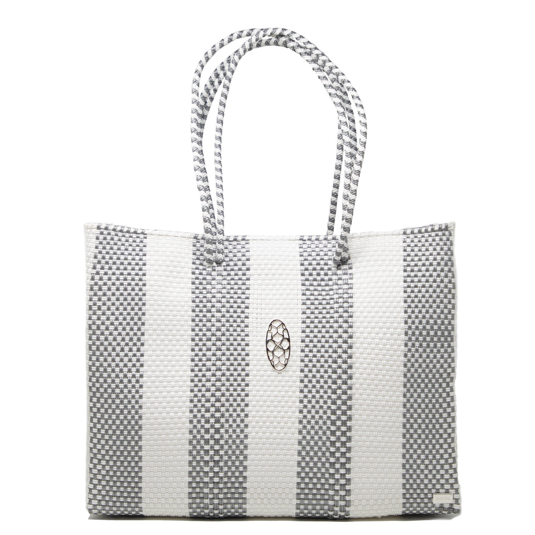 SILVER STRIPE TOTE WITH CLUTCH
