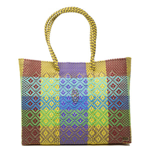 YELLOW PATTERNED TOTE WITH CLUTCH