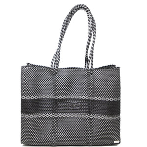 GRAY/BLACK TRAVEL TOTE BAG WITH CLUTCH
