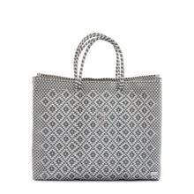 Load image into Gallery viewer, SILVER/WHITE  AZTEC TRAVEL TOTE BAG WITH CLUTCH