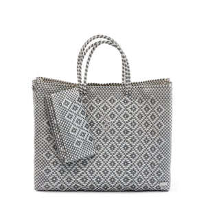 SILVER/WHITE  AZTEC TRAVEL TOTE BAG WITH CLUTCH