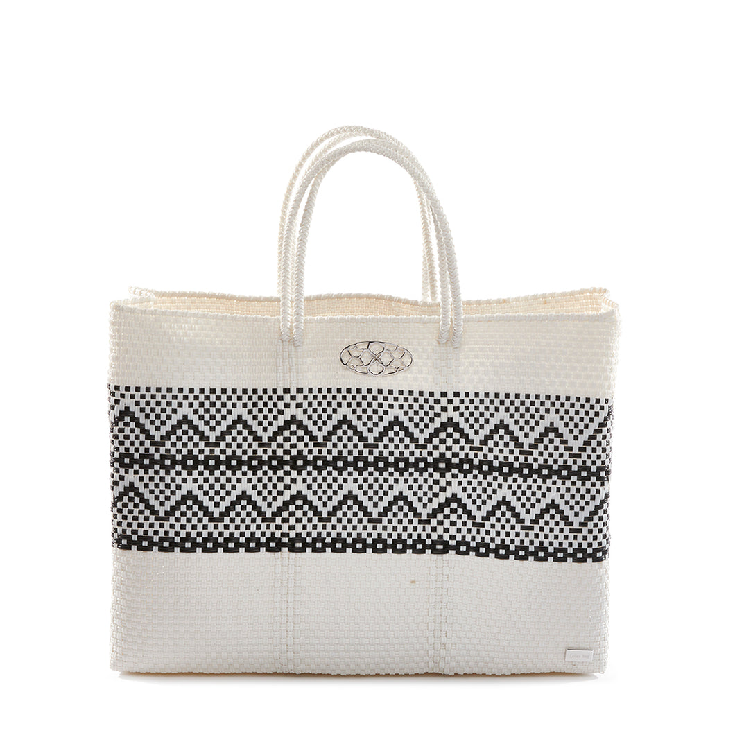 WHITE/ BLACK AZTECA STRIPE  BOOK TOTE WITH CLUTCH