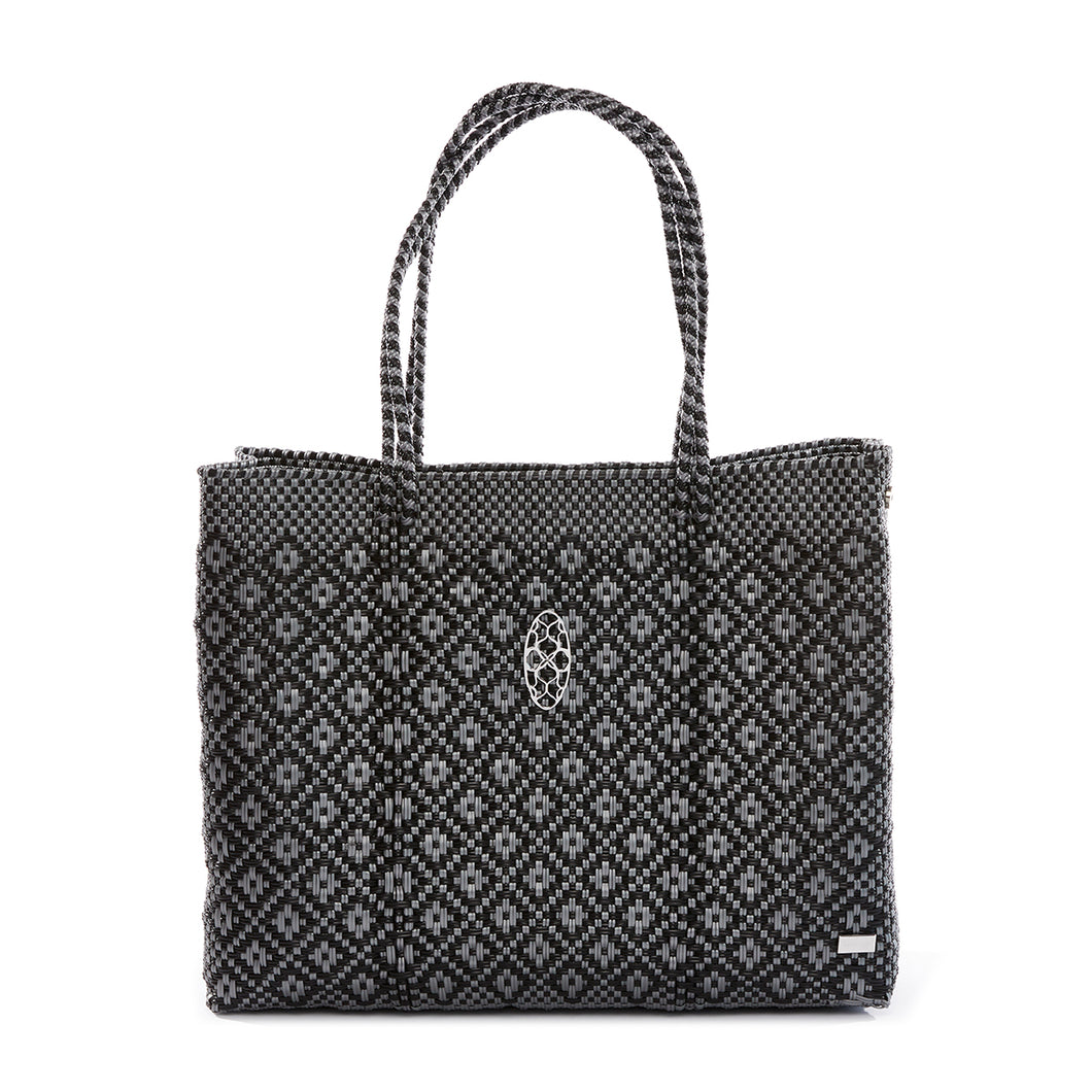 BLACK AND SILVER  AZTECA  TRAVEL TOTE WITH CLUTCH