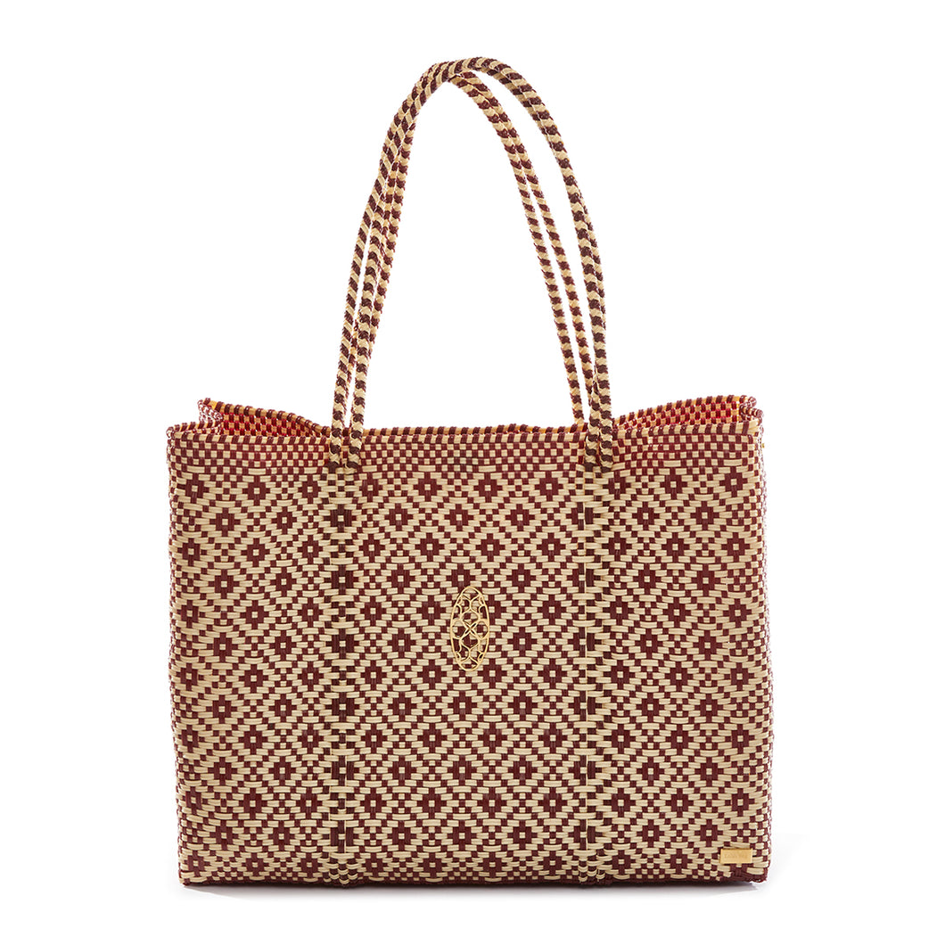 BURGUNDY/ BEIGE AZTECA TRAVEL TOTE WITH CLUTCH