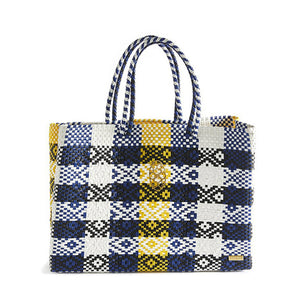 BLUE YELLOW TRAVEL TOTE BAG WITH CLUTCH