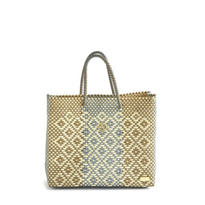 SMALL SILVER GOLD TOTE BAG