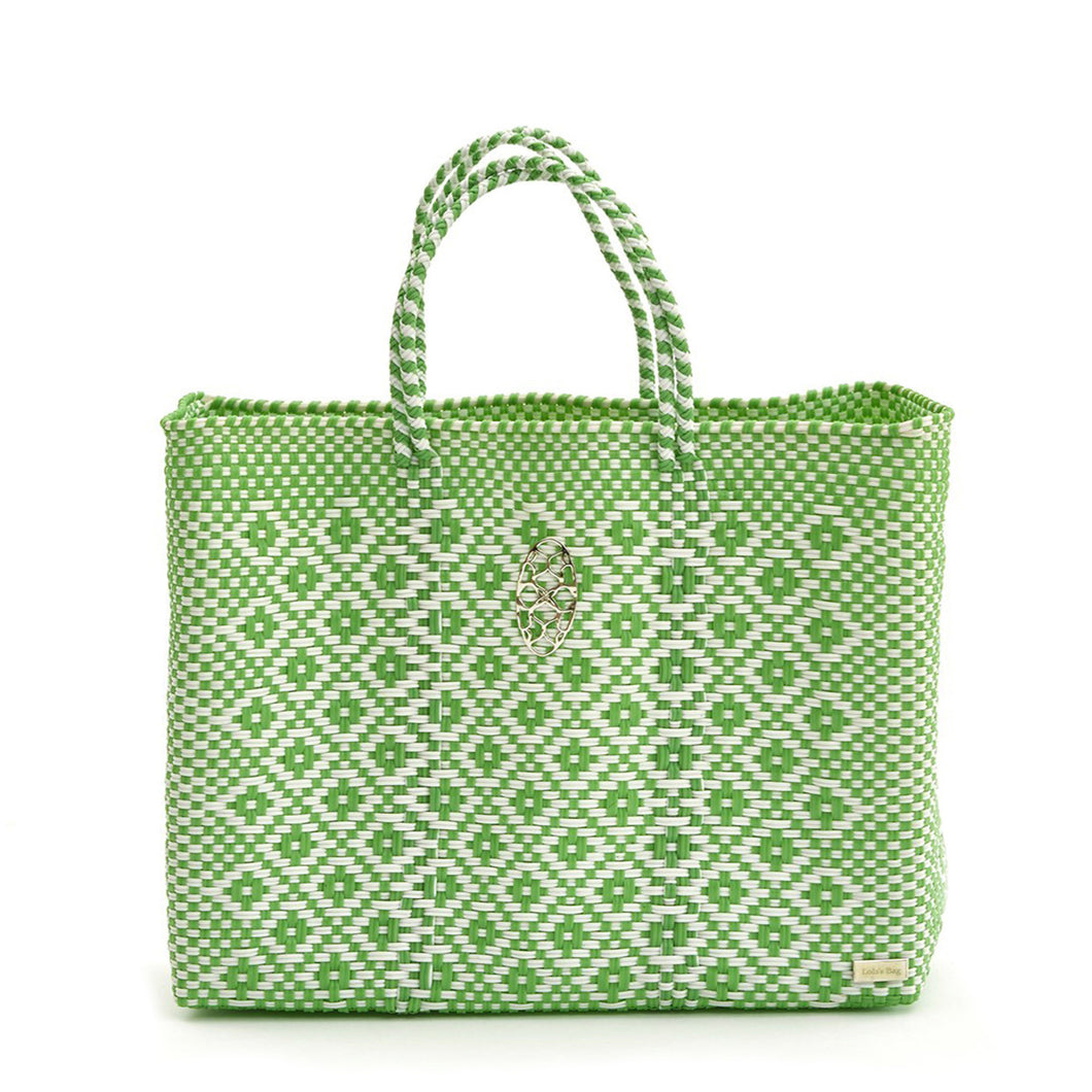 GREEN AZTECA BOOK TOTE WITH CLUTCH