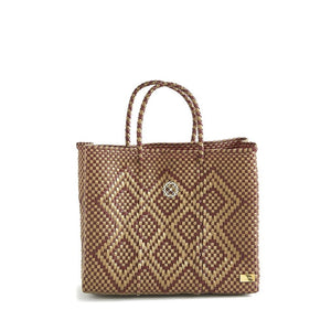 SMALL BURGUNDY/GOLD TOTE BAG
