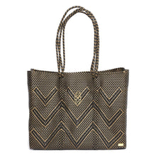 Load image into Gallery viewer, BLACK/GOLD CHEVRON TRAVEL TOTE BAG WITH CLUTCH
