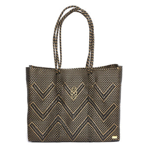 BLACK CHEVRON TRAVEL TOTE BAG WITH CLUTCH