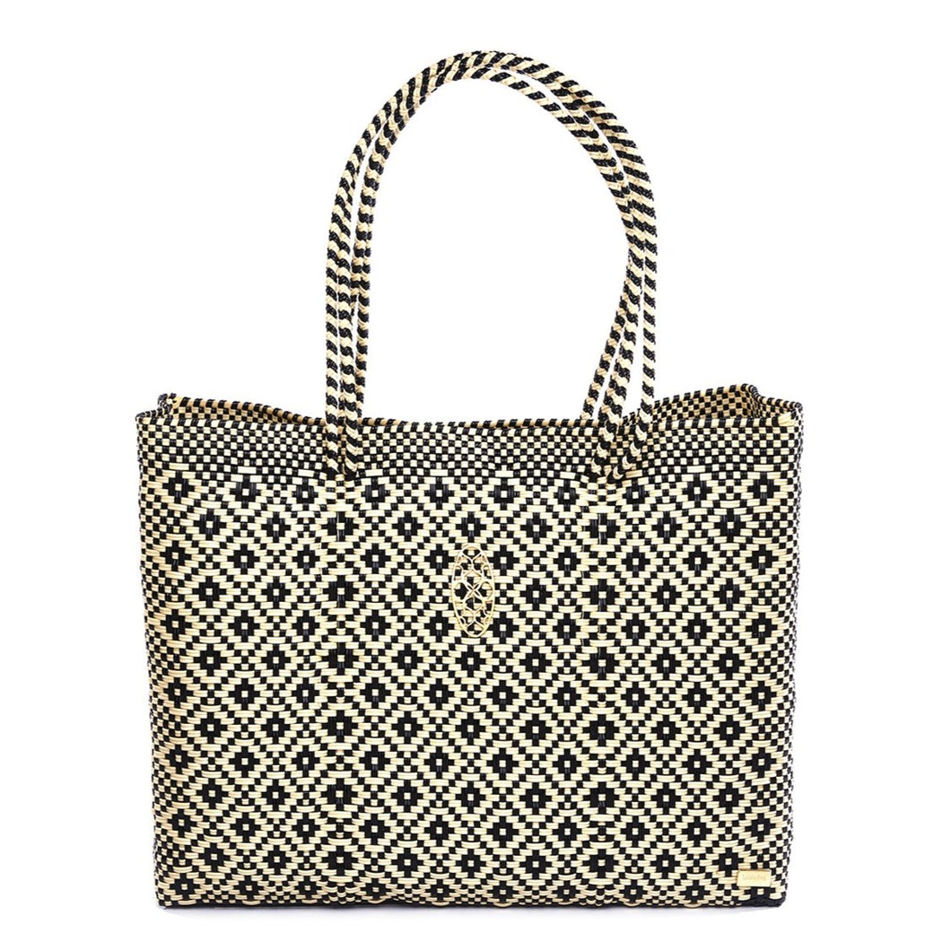 BLACK BEIGE TRAVEL TOTE BAG WITH CLUTCH