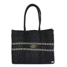 Load image into Gallery viewer, BLACK /BEIGE STRIPED TRAVEL TOTE BAG WITH CLUTCH