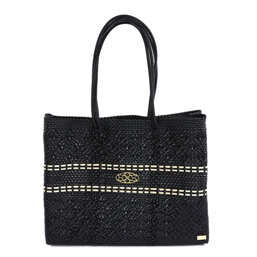 BLACK TRAVEL TOTE BAG WITH CLUTCH