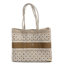 Load image into Gallery viewer, GOLD STRIPE TRAVEL TOTE BAG WITH CLUTCH
