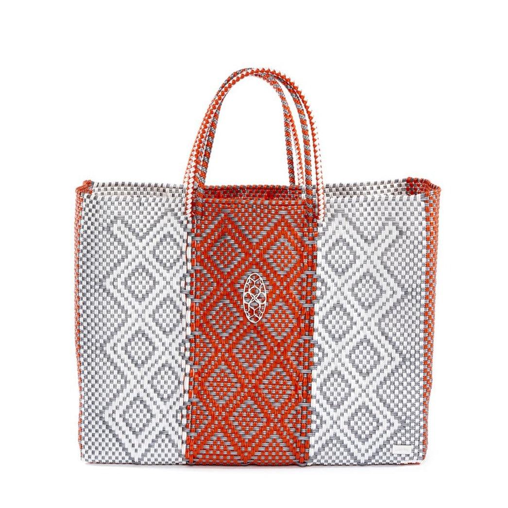 SILVER ORANGE BOOK TOTE BAG AND CLUTCH