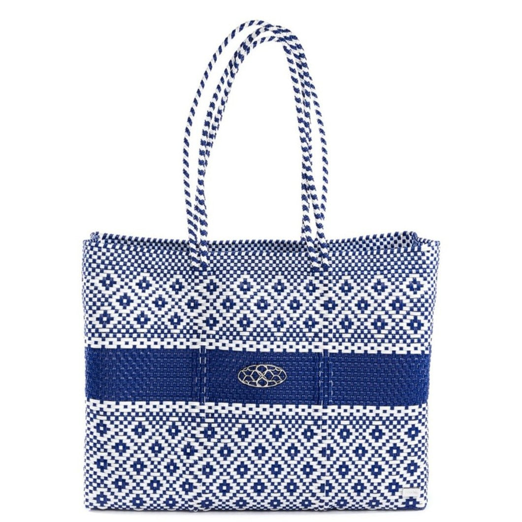 BLUE STRIPE TRAVEL TOTE BAG WITH CLUTCH
