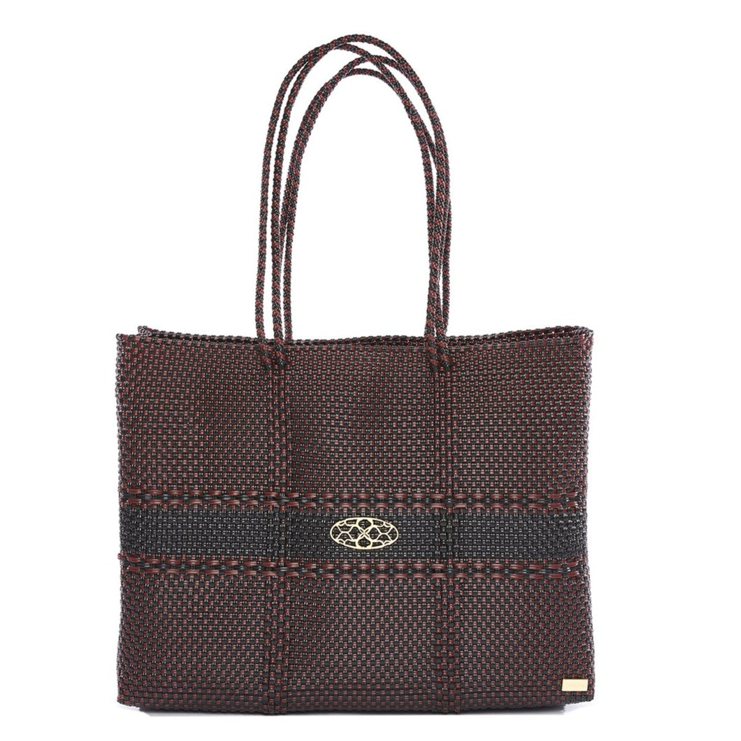 BURGUNDY BLACK TRAVEL TOTE WITH CLUTCH