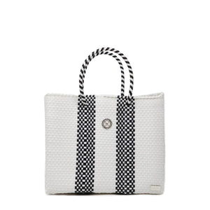SMALL WHITE STRIPE TOTE BAG