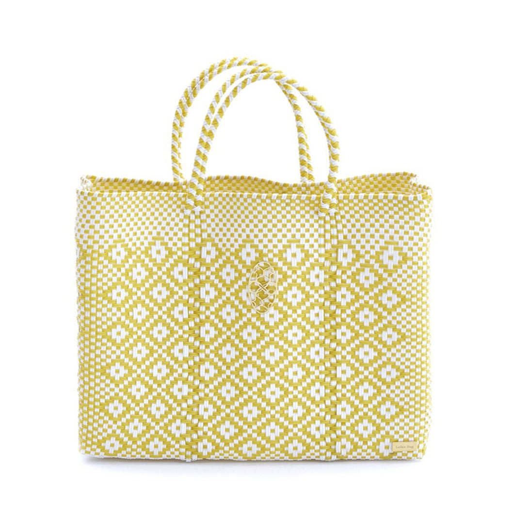 YELLOW AZTECA BOOK TOTE BAG WITH CLUTCH