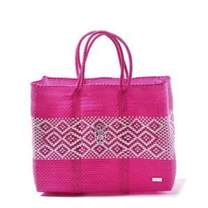 PINK /WHITE BOOK TOTE WITH CLUTCH