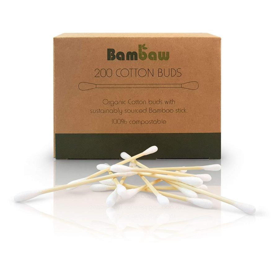 Organic Bamboo Cotton Buds x 200 pieces 100% Biodegradable - Eco Kindly