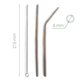 Stainless Steel Drinking Straws - Silver  - x 2 - Eco Kindly