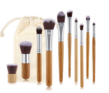Eco-Friendly Bamboo Makeup Brushes - 11 Piece Set -  Natural Bamboo Handles
