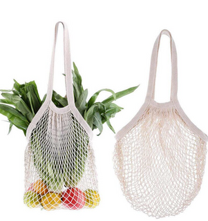 Organic Drawstring Mesh Shopping Bag