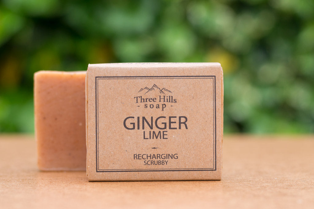 Ginger Lime 100% Natural Soap Bar - a recharging scrubby soap bar - Eco Kindly