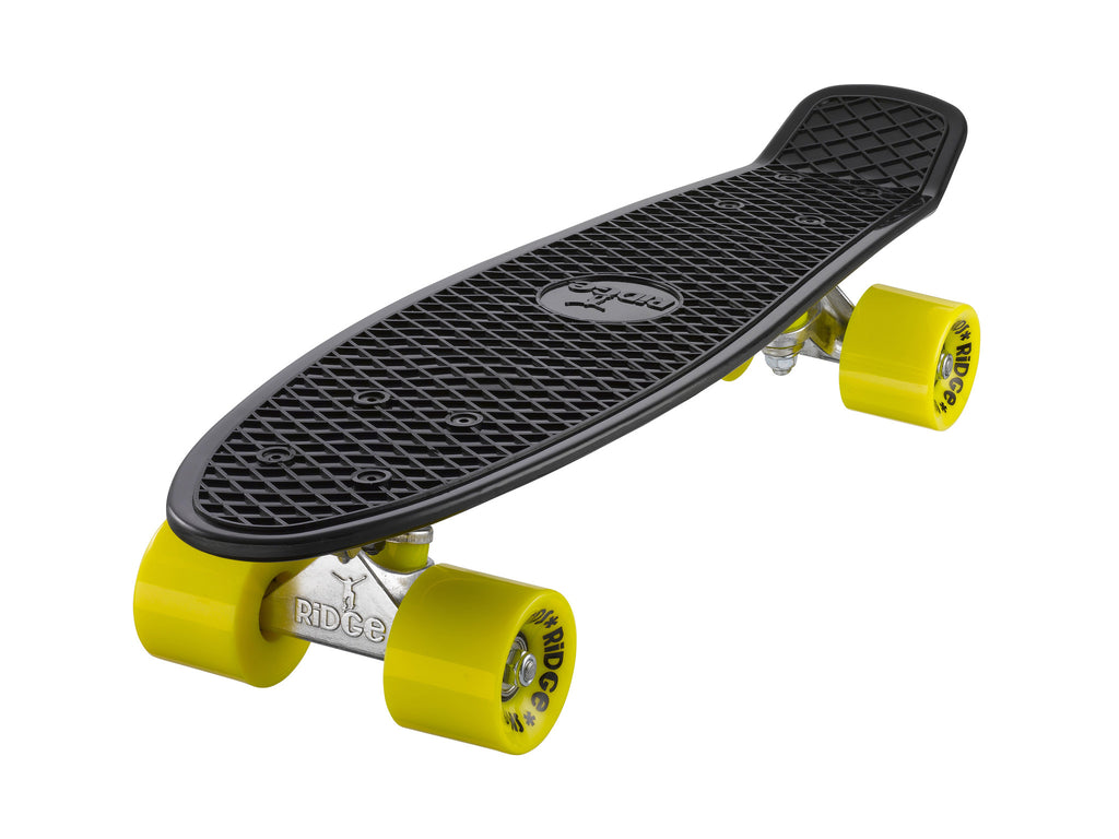 "Ridge 22"" Mini Cruiser complete board in black with a choice of 12 wheel colours"