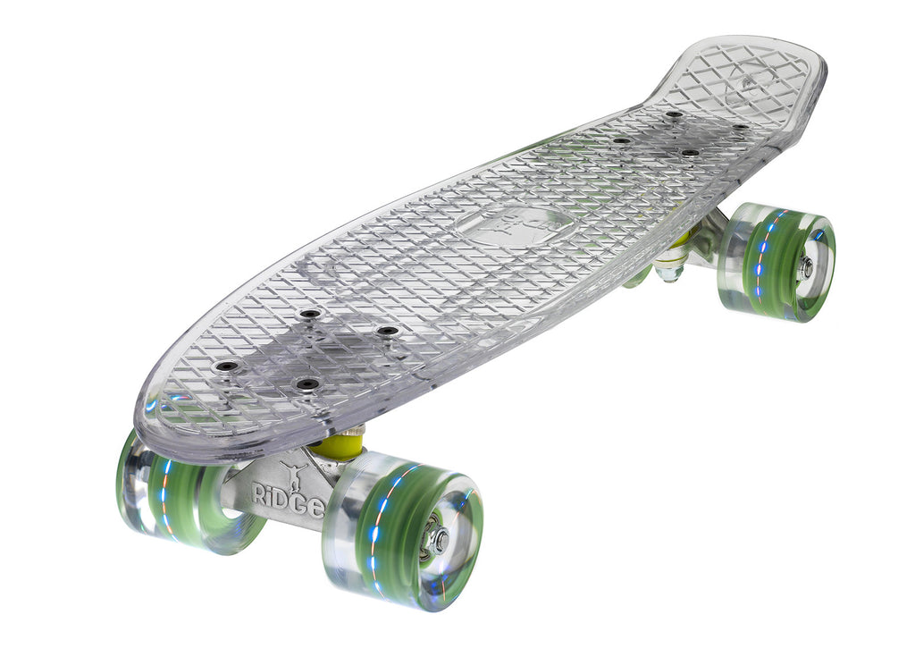 The Ridge Blaze Transparent Mini Cruiser in clear w LED light up wheels in 5 colours