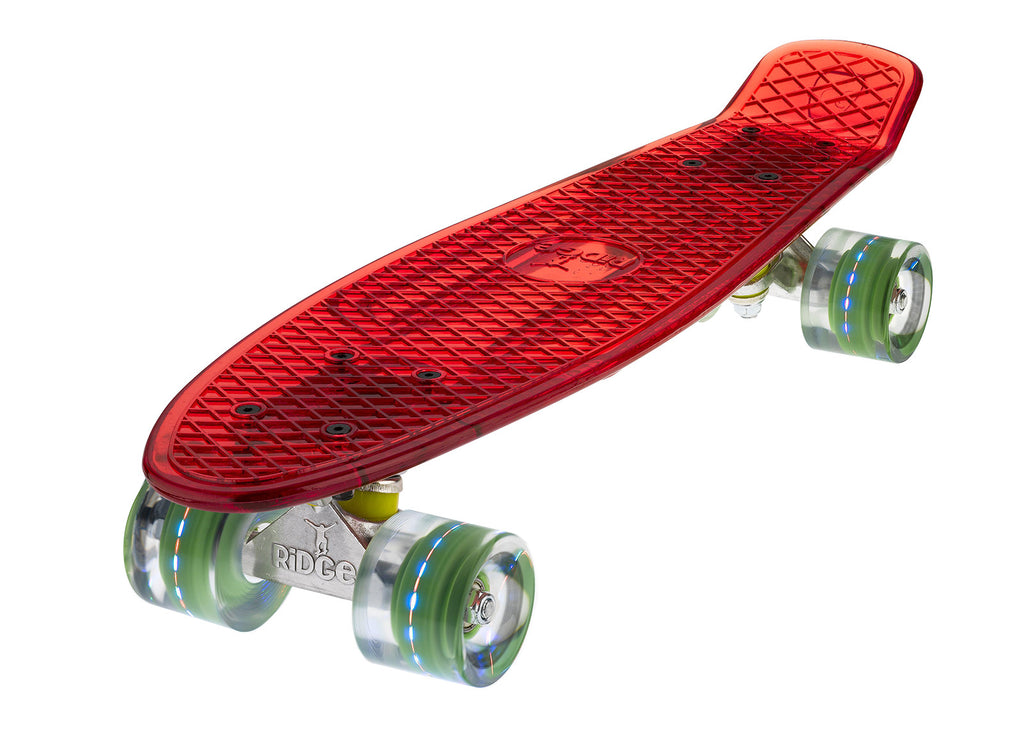 The Ridge Blaze Transparent Mini Cruiser in red w LED light up wheels in 5 colours