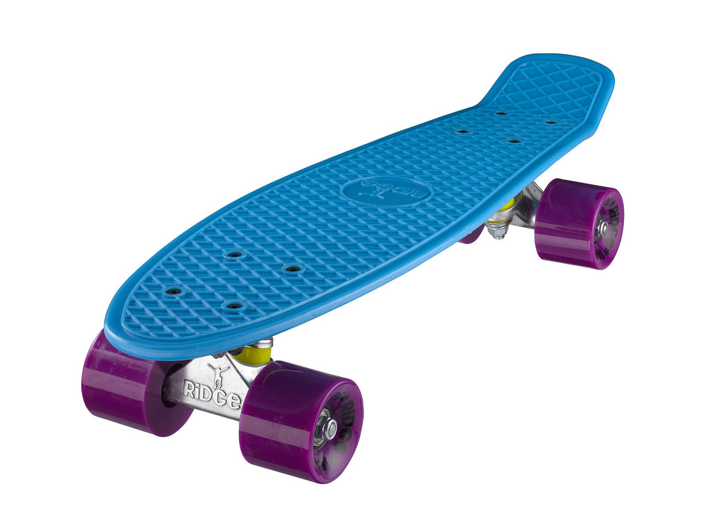 "Ridge 22"" Mini Cruiser complete board in blue with a choice of 12 wheel colours"