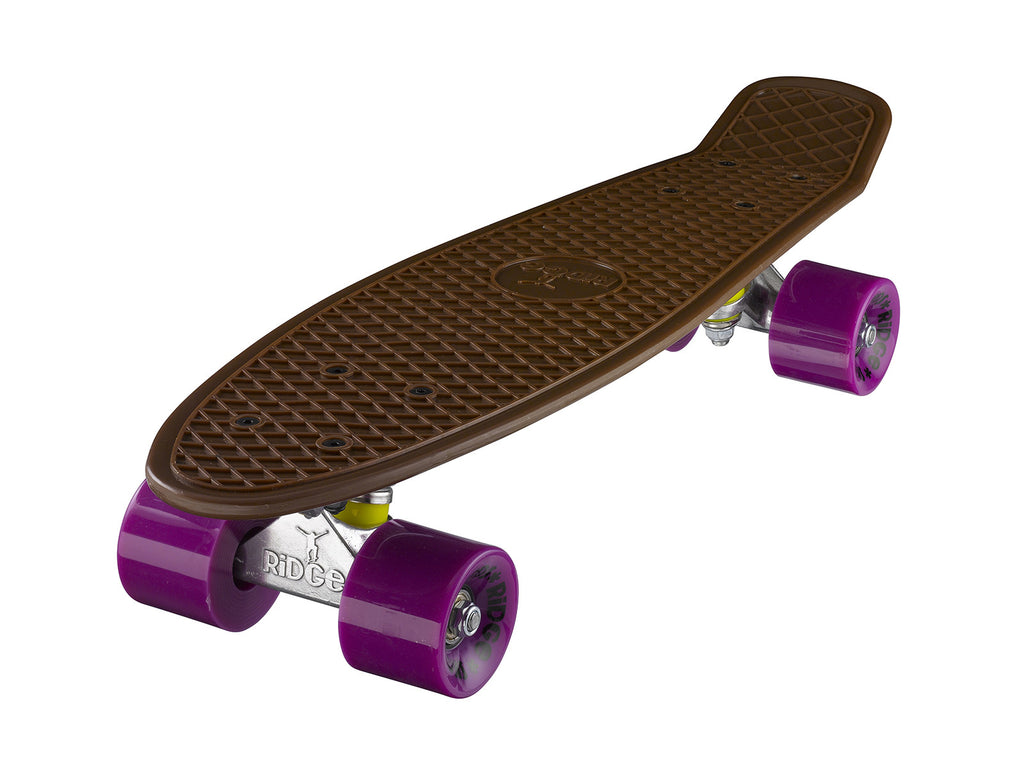 "Ridge 22"" Mini Cruiser complete board in brown with 12 wheel colours"