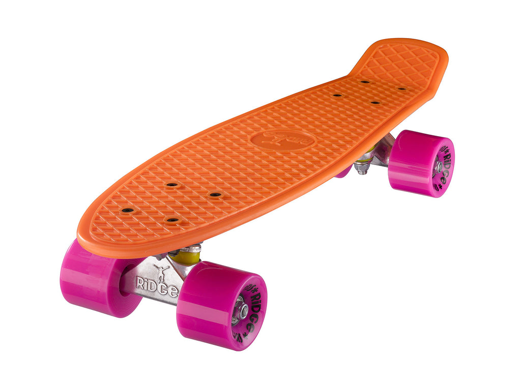 "Ridge 22"" Mini Cruiser complete board in orange with a choice of 12 wheel colours"