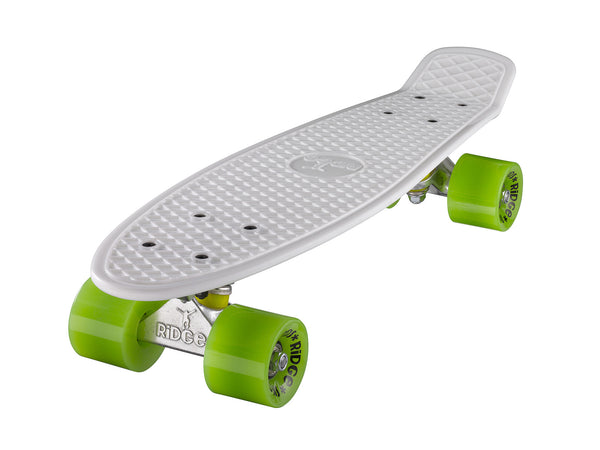 "Ridge 22"" Mini Cruiser complete board in white with a choice of 12 wheel colours"